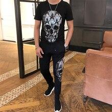 Di alta qualità di Modo A Due Pezzi Set Top + pantaloni Degli Uomini Degli Uomini Tuta Slim Fit Abiti Degli Uomini di Set