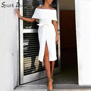 Блестящее трапециевидное платье с коротким рукавом, с открытыми плечами и высокой талией, стройное платье с бантом, весна 2020
