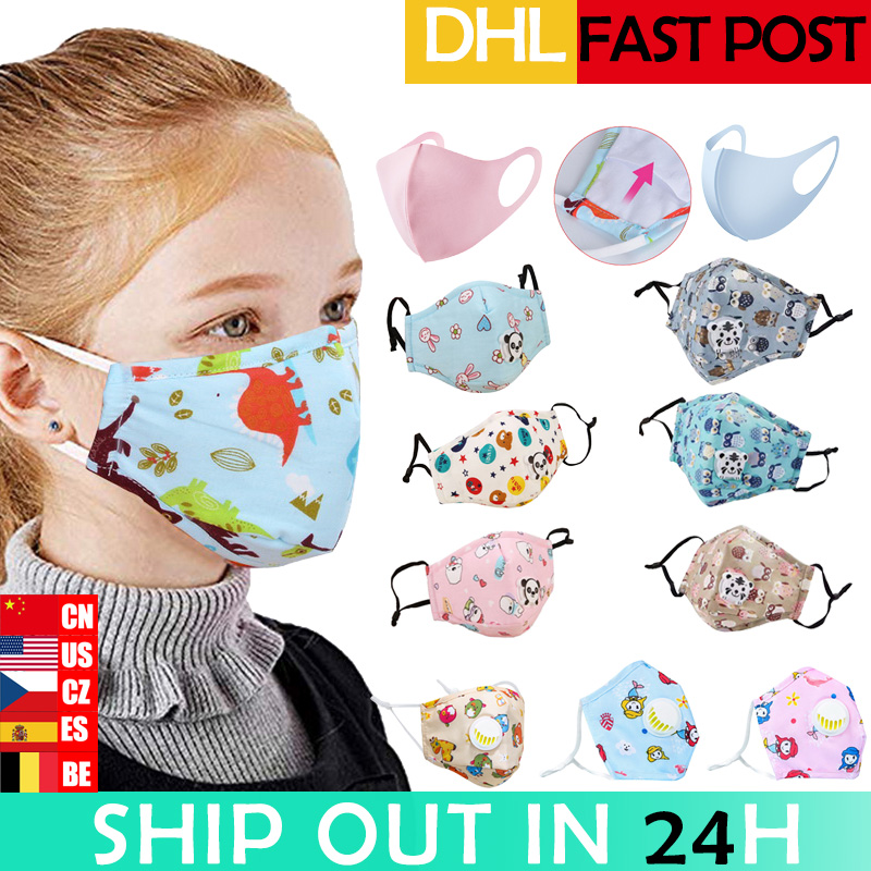 Kids Cartoon Mouth Masks Printing Dustproof Breathable PM2.5 Cotton Mouth Face Nose Mask Cover With Filter Respiratorr