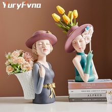 YuryFvna Creative Girl Statue Resin Decoration Living Room Flower Arrangement Storage Home Decoration Crafts Desktop Decor Gift
