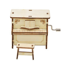 DIY Wooden Music Box Hand Crank Happy Birthday Party Children Gift Piano Style Toy