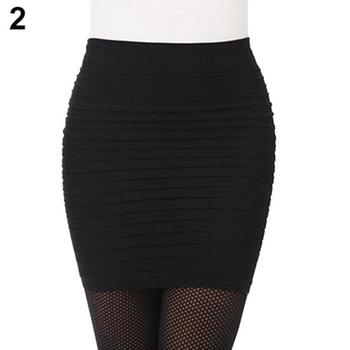 Women's Skirts Sexy Pleated Stretch Elastic Seamless Bodycon Skirt Short Pencil Dress High Waist Candy Color Plus Size 2020 image