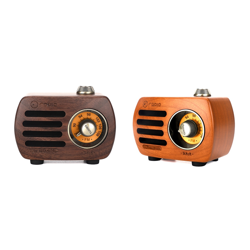 2x Wood FM SD MP3 Bluetooth Transistor Rechargeable Radio with Speaker, R818(Walnut Wood&Cherry Wood)