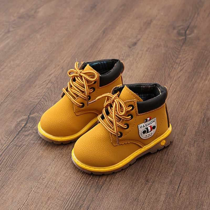 Baby Shoes Boots Children Shoes PU Leather Waterproof Breathable Low-Heeled Ankle Girls Shoes