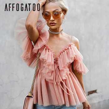 Affogatoo Sexy deep v neck backless vintage women summer blouse Elegant ruffle off shoulder shirt tops female Mesh blouse blusas - DISCOUNT ITEM  50% OFF All Category