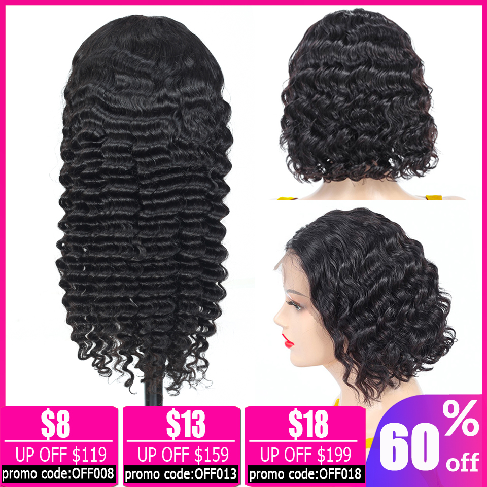 13x4 Lace Front Wig Deep Wave Wig Brazilian Wig Pixie Cut Wig Short Bob Lace Front Human Hair Wigs For Black Women Non-Remy