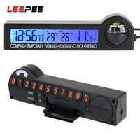 LEEPEE-reloj con calendario, brújula, termómetro para estacionamiento temporal de coche, tarjeta, pantalla LCD multifunción, probador de voltaje 5 en 1