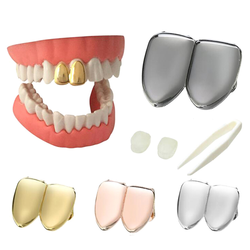 1Pcs Gold Teeth Grillz Top Grills Dental Mouth Punk Teeth Caps Cosplay Party Tooth Rapper Jewelry Gift  Plated Single Tooth Cap