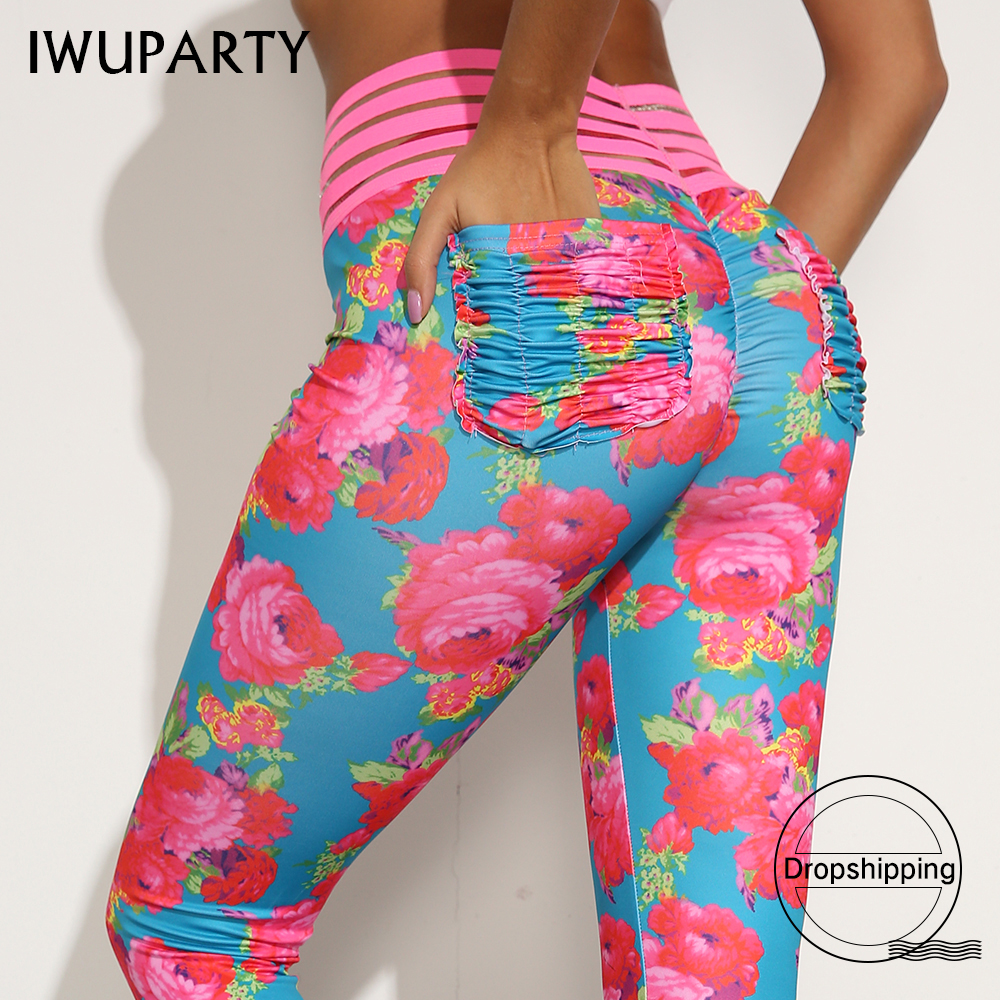 IWUPARTY Sexy Floral Printing   Leggings   with lace Fold pocket Women Pushup Pants Gym Fitness Leggins Mujer Workout Sportswear