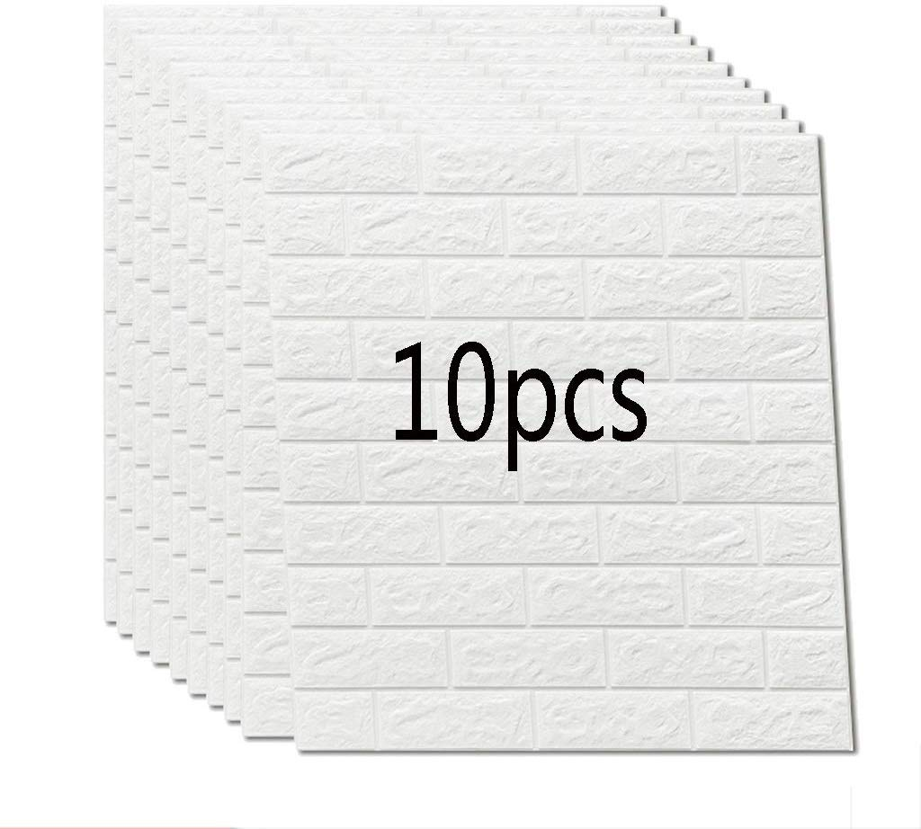 10Pcs 3D Brick Wall Stickers Living Waterproof Foam Room Bedroom DIY Adhesive Wallpaper Art  70*77cm Cm Home Wall Decals