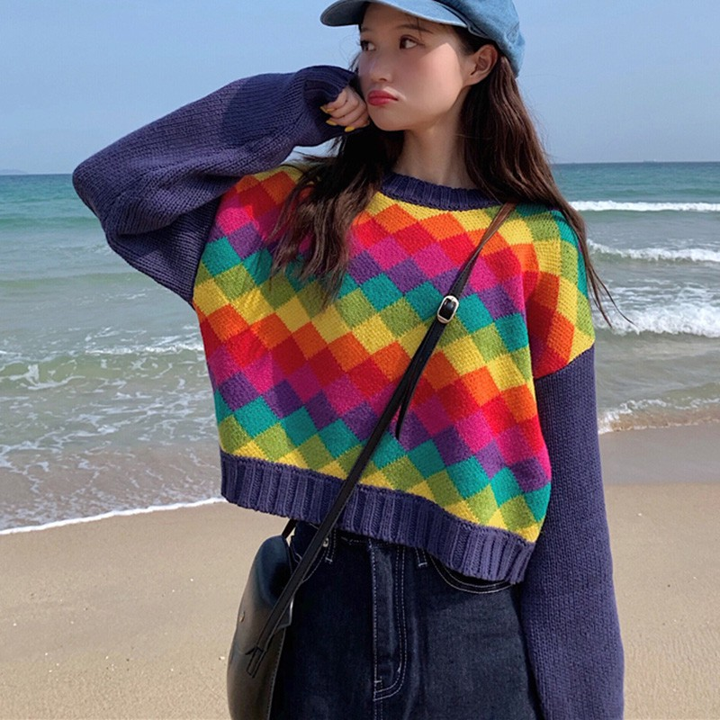 Rainbow Colorful Stripe Sweater Women Casual Sweaters Autumn Print Long-Sleeved Round Collar Slim Bottom Jacquard Sweater