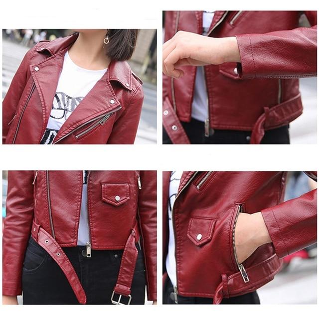 Ftlzz Pu Leather Jacket Women Fashion Bright Colors Black Motorcycle Coat Short Faux Leather Biker Jacket Soft Jacket Female 6