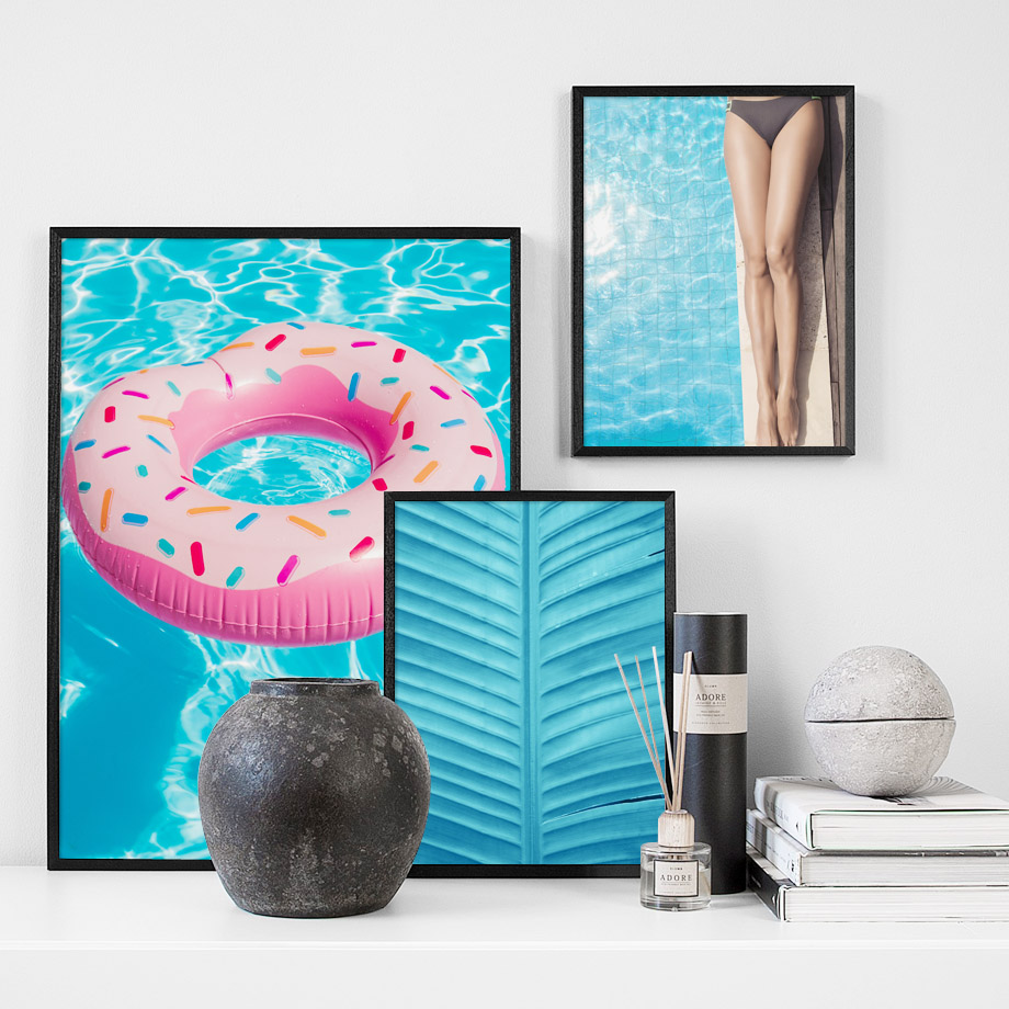 Lifebuoy Pool Girl Pink Turtle Leaf Wall Art Canvas Painting Print Nordic Canvas Posters And Prints Wall Picture For Living Room in Painting Calligraphy from Home Garden