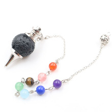 Silver Plated Black Lava Stone Round Pendant with Stone Beads Chain Healing Chakra Popular Jewelry shiny eyeglass brass chain spectacle retainer electro plated with silver embedded with black acrylic beads