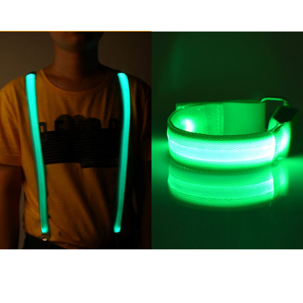 Adjustable Bracelet Arm Belt Band Glow Bangle Led Suspenders Flashing Light Suspender For  Outdoor Night Cycling Running Riding