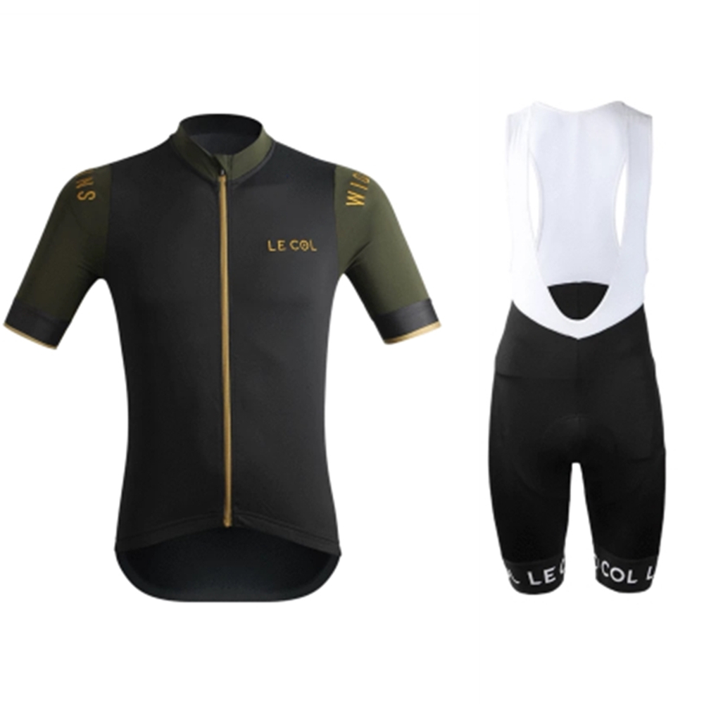 LE COL Summer Men Short Sleeve Cycling Jersey Sets Conjuntos Ciclismo Bib Shorts Mountainbike Roadbike Quick-dry Fabric Clothing