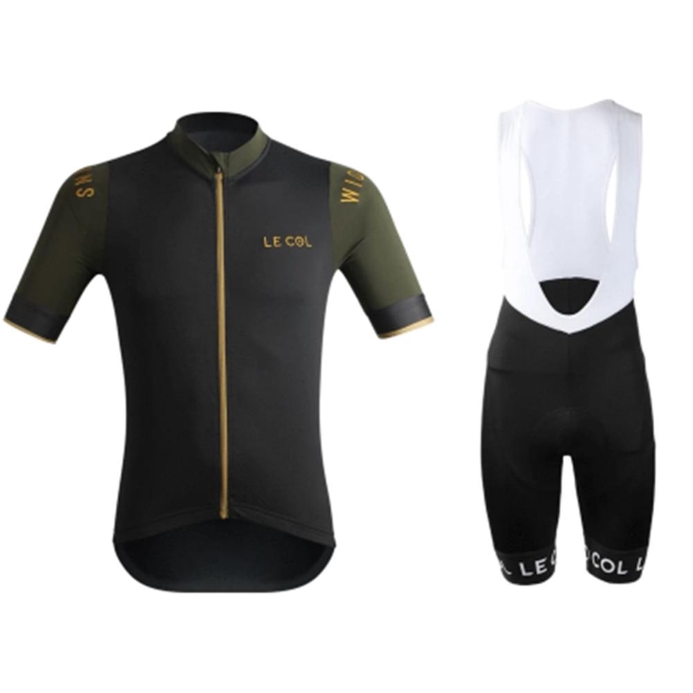 LE COL Summer Men Short Sleeve Cycling Jersey Sets Conjuntos Ciclismo Bib Shorts Mountainbike Roadbike Quick-dry Fabric Clothing