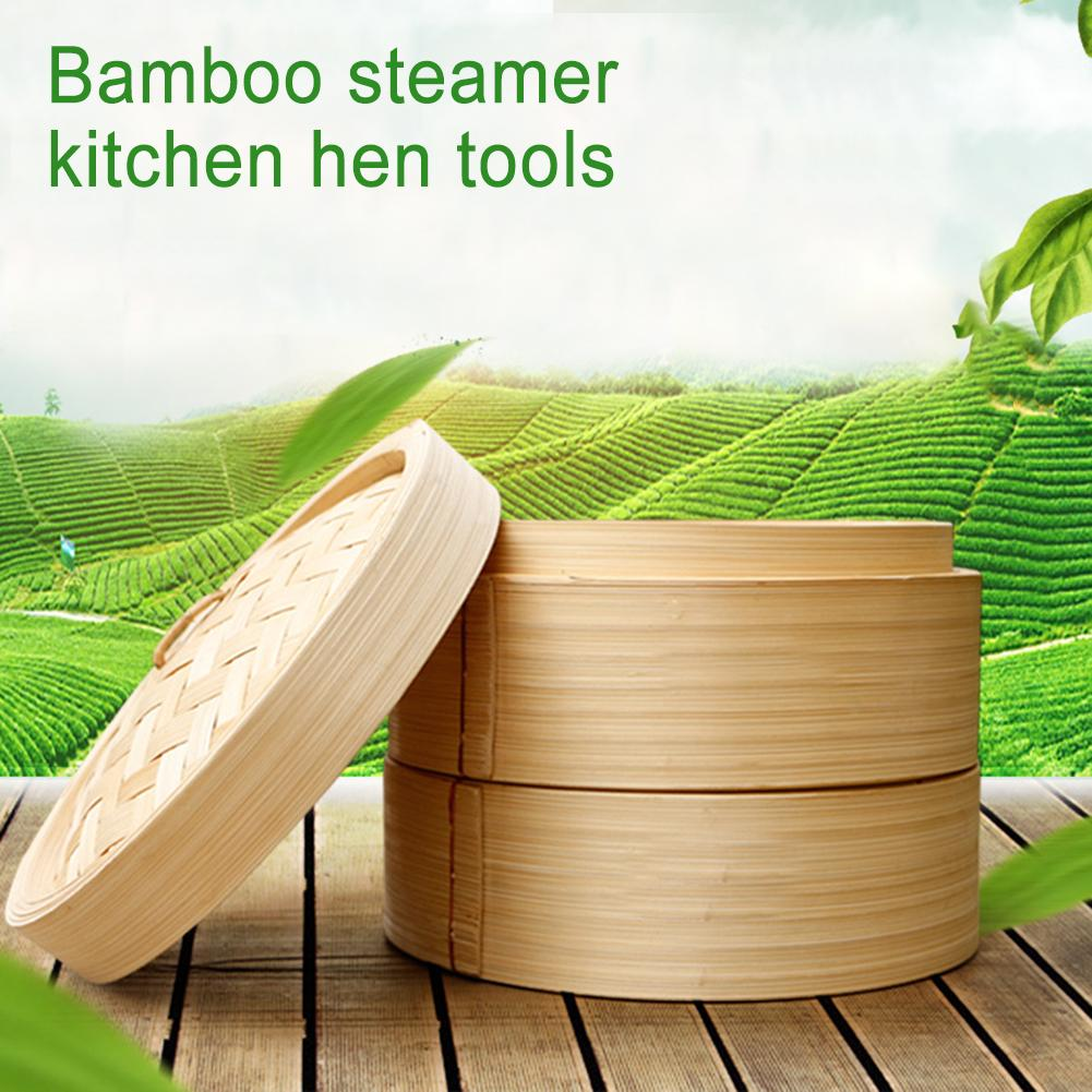 Two Cage And One Cover Cooking Bamboo Steamer Fish Rice Vegetable Snack Basket Set Kitchen Cooking Tools 7/8/9 Inch