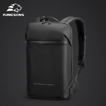 Kingsons magro computador portátil mochila homens 15.6 polegada trabalho de escritório homens mochila de negócios unisex preto ultraleve mochila fina 1