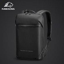 Kingsons magro computador portátil mochila homens 15.6 polegada trabalho de escritório homens mochila de negócios unisex preto ultraleve mochila fina