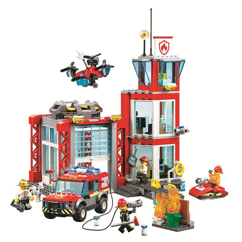 In Stock City Police Fire Station Lepining 60215 Building Blocks  Bricks Classic Model Toys For Children City Christmas Gift