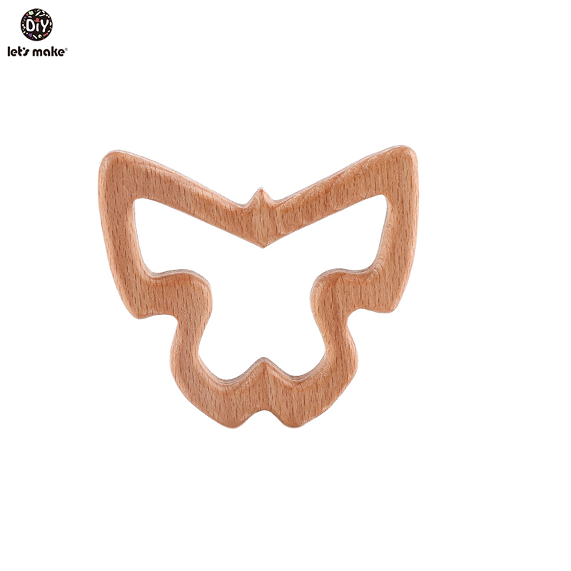Let'S Make 10Pcs Wooden Baby Teether Elm Olive Oil Baby Teether Animals Shape Wood Teething Oral Care