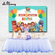 Inmemory mint cocomelon família festa de aniversário backdrops para crianças balões branco bolinhas fotografia fundos banner personalizado