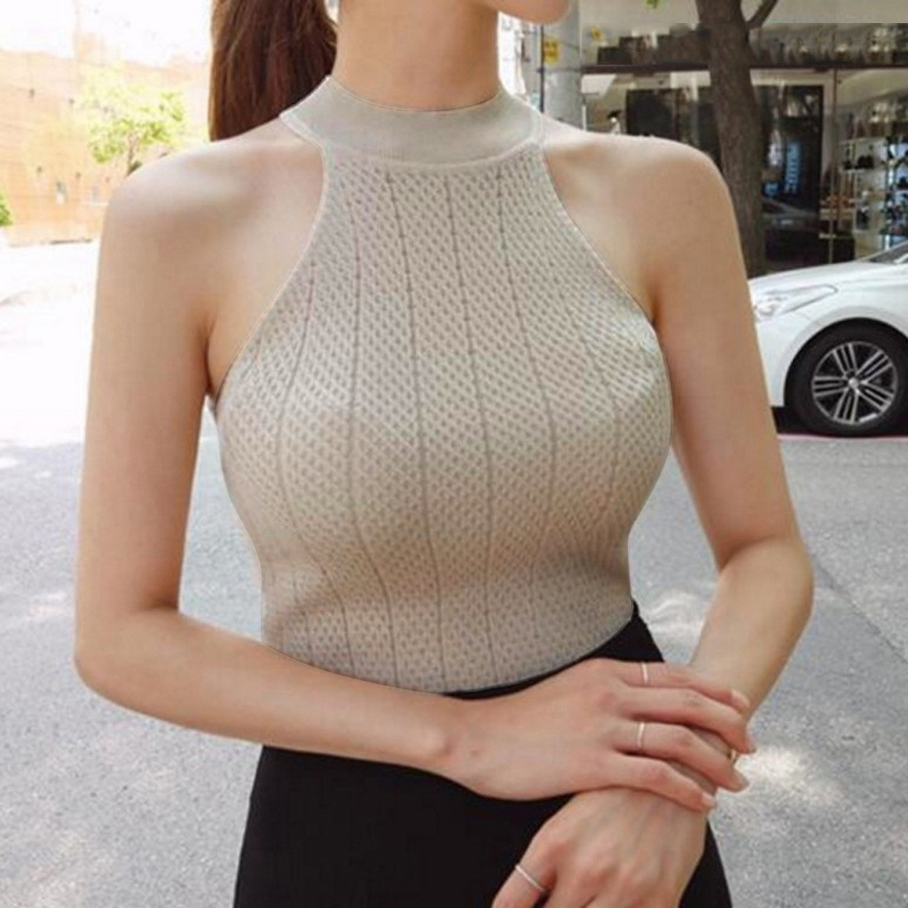 Fashion O Neck Sleeveless Knitted Fabric Tank Top Womens Female Fitness Vest For Ladies Sexy Summer Tops Waistcoat Crochet Top