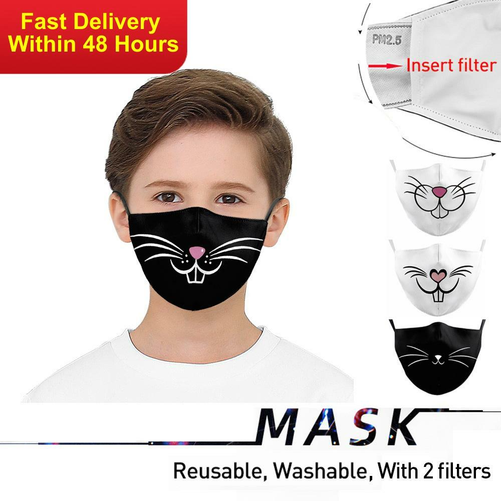 Zawaland Kids Cartoon Cat Big Mouth Mask Protective PM2.5 Face Mask Anti-UV Mouth-muffle Washable Dust-proof Mask With 2 Filters