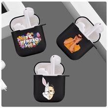 Yo-funda para Apple Airpods 2 1, Bad Bunny, Maluma, negra, suave, TPU