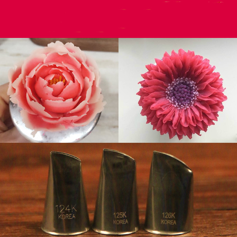 3Pcs Rose Petals Stainless Steel Icing Piping Nozzles Fondant Cake Decorating Pastry Sets Tools Bakeware Accessories