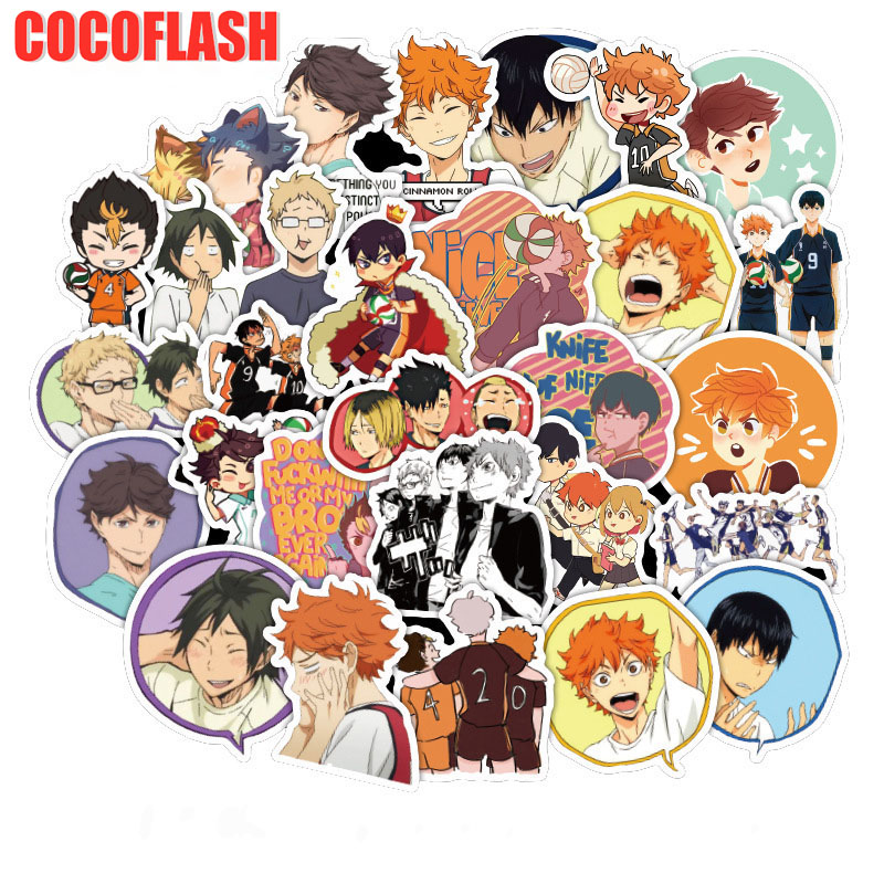 10/50pc/set Haikyuu Volleyball Cartoon Children Stickers Skateboard Guitar Suitcase Girls Waterproof Scrapbooking Kids Toys