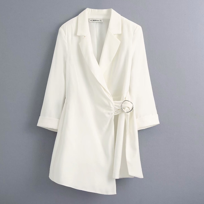 New 2020 Women High Street Solid Color Casual Suit Jumpsuit Office Ladies Buckle Decoration Chic White Rompers DS3609