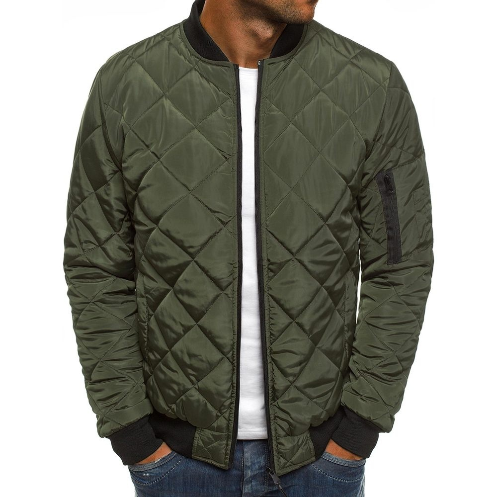 Men's Padding Bomber Jacket Autumn Winter Diamond Quilting Jacket Windproof Outwear Jacket