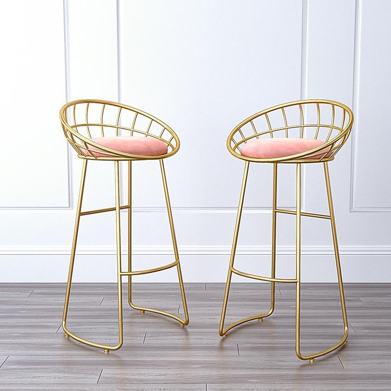 Bar Furniture Chair Nordic Bar Chair  High Chair Light Luxury Wrought Iron Bar Stool Set