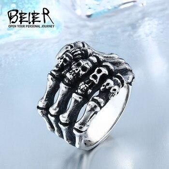 Beier Finger skull bones punk ring