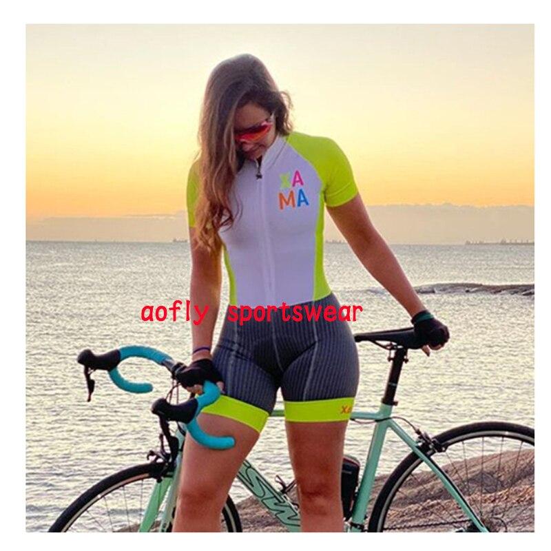 2020 xama pro feminino triathlon skinsuit bicicleta ciclismo conjuntos de jérsei macaquinho feminino roupas de bicicleta macacão gel almofada conjunto feminino ciclismo macaquinho ciclismo feminino  roupas com frete 10