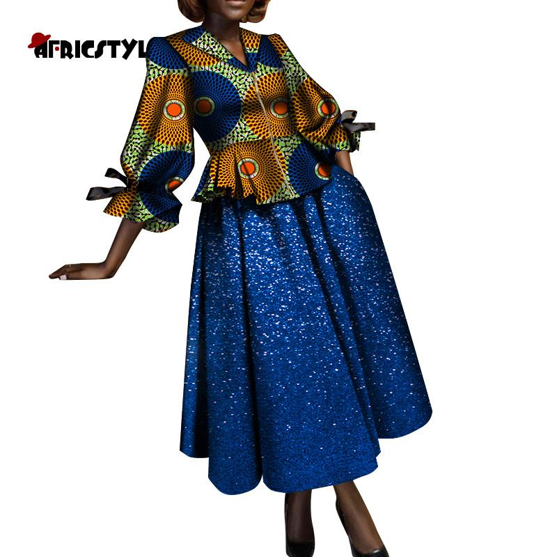 Африканская женская рубашка с длинным рукавом юбка из хлопка