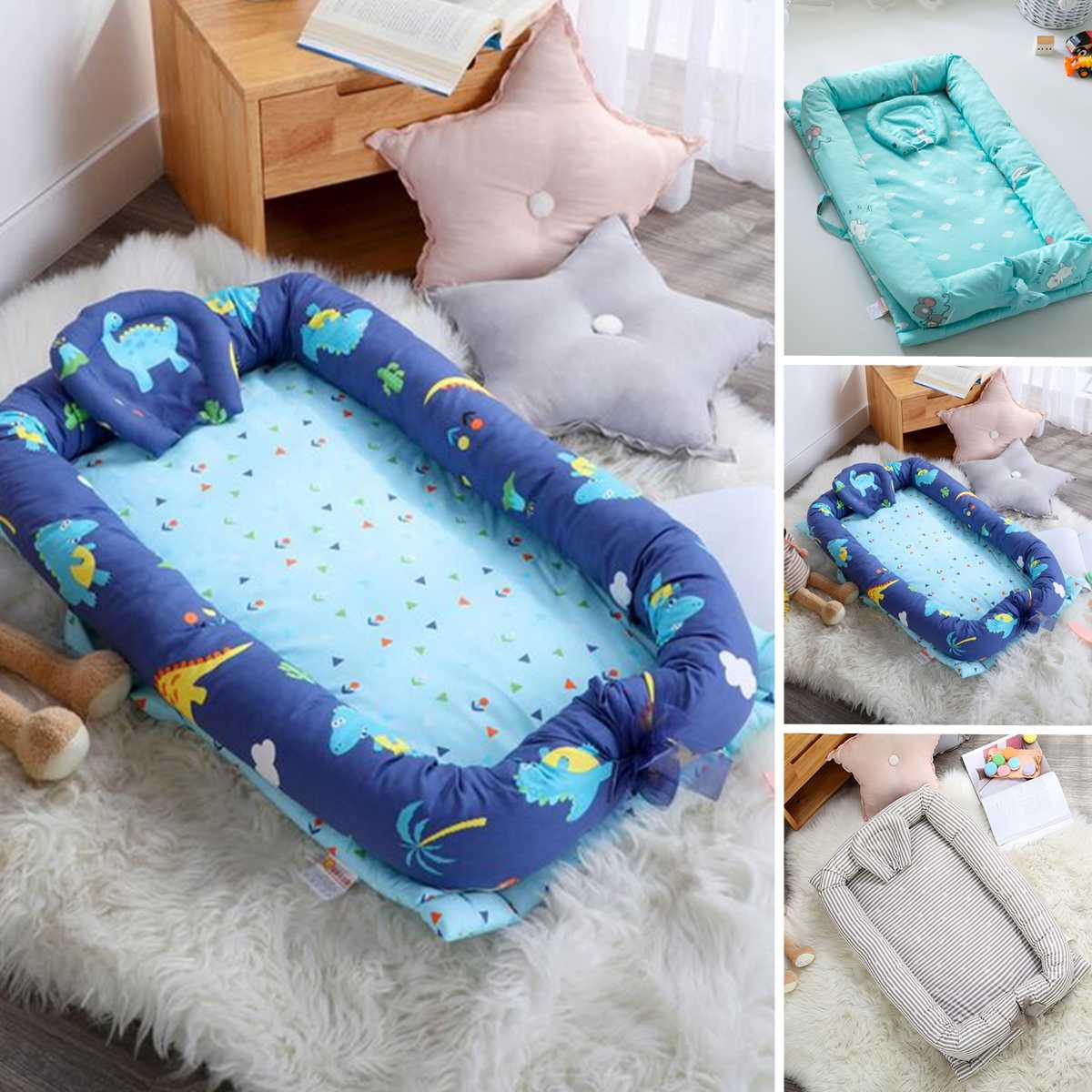 90x55x15cm Baby Nest Bed Portable Crib Travel Bed Infant Toddler Cotton Cradle For Newborn Baby Bassinet Bumper