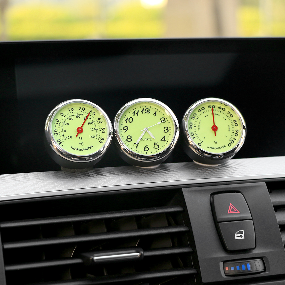 Luminous Car Clock Thermometer Hygrometer Automobile Car Dashboard Decoration Ornaments Automotive Watch Car Styling Accessories