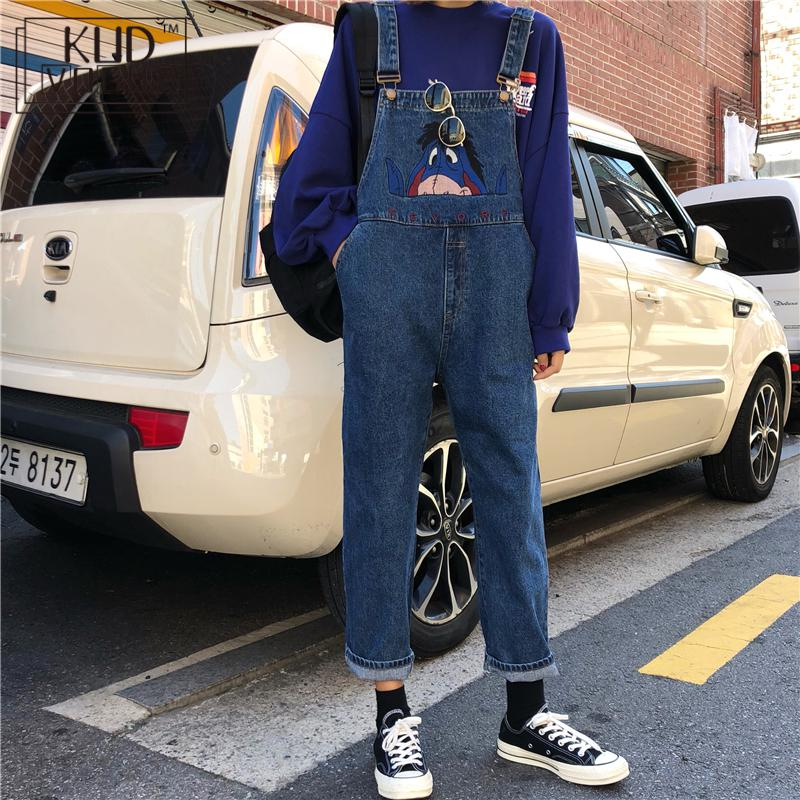 Jumpsuit High Waist Jeans Women Embroidery Big Pockets Leisure Autumn Playsuits Womens Korean Style Retro High Quality Oversized