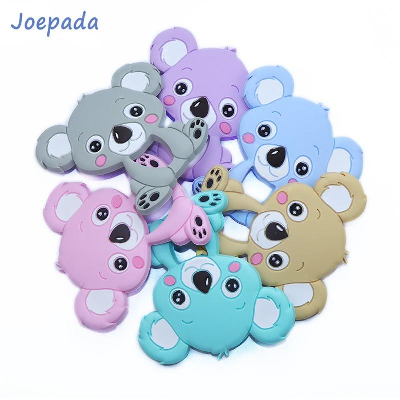 Joepada 1pc Silicone Teethers Food Grade Tiny Rod Cartoon Animals Koala Teether DIY Baby Teething Necklace Baby Shower Gifts Toy