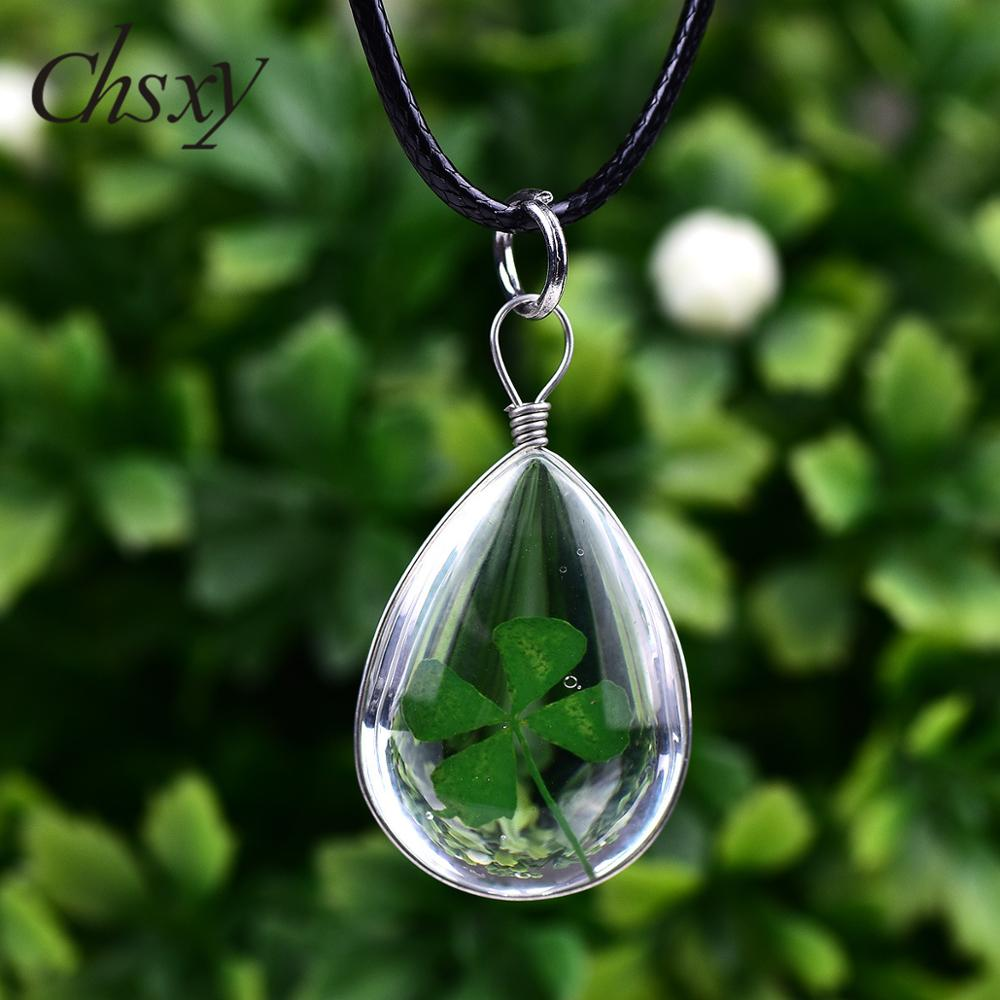 CHSXY Lucky Four Leaf Clover Transparent Pendant Necklace Dried Flower Leather Rope Chain Necklace for Women Girl Best Wish Gift image