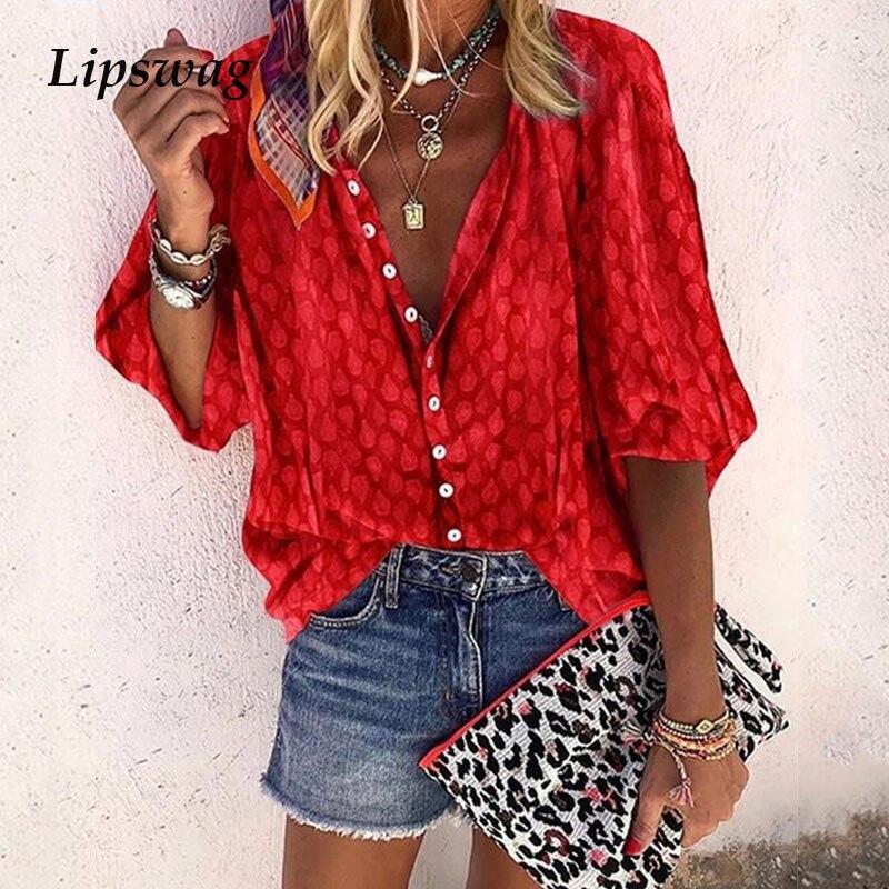 Lipswag 5XL Sexy Print V-Neck Button Blouses Women 2019 Summer Loose Streetwear Top Autumn Elegant Plus Size Tops Blouse Female