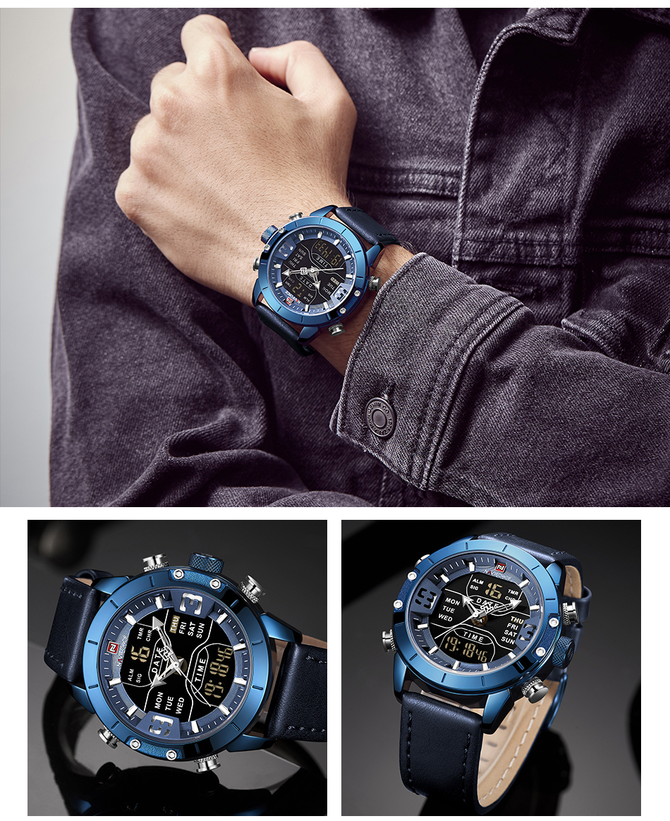 NAVIFORCE Mens Watches Top Brand Luxury Army Military Leather Mens Wristwatch Waterproof Digital Quartz Sports Watches Relogio (12)