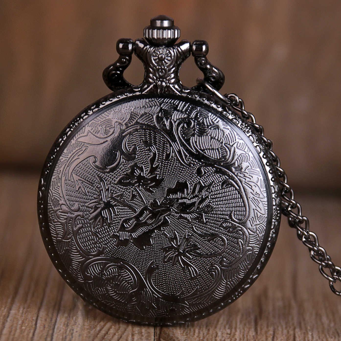 Creative Rereo רוח רעה ארוך לשון קוורץ שעון כיס עם שרשרת שרשרת נשים מתנת שעון Mens פוב שעונים