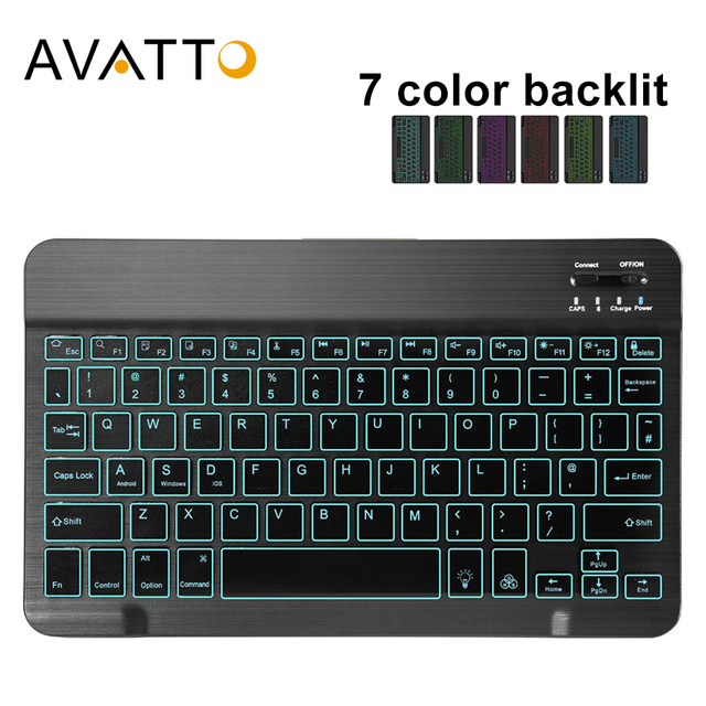 AVATTO Ultra thin 7 Color LED Backlit Wireless Bluetooth Tablet Keyboard For Android Mac OS Windows