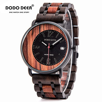 DODO DEER Stainless Steel Wood Watch Auto Date Men Sport Waterproof Military Watches Relogio Masculino Gift wooden boxes D10