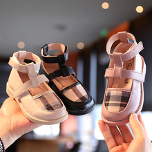 Shoes Girls New Fashion Autumn Children's Pu Leather Grid Round Head Princess Shoes Kids Flat Dancing Shoe Toddler Casual Shoe