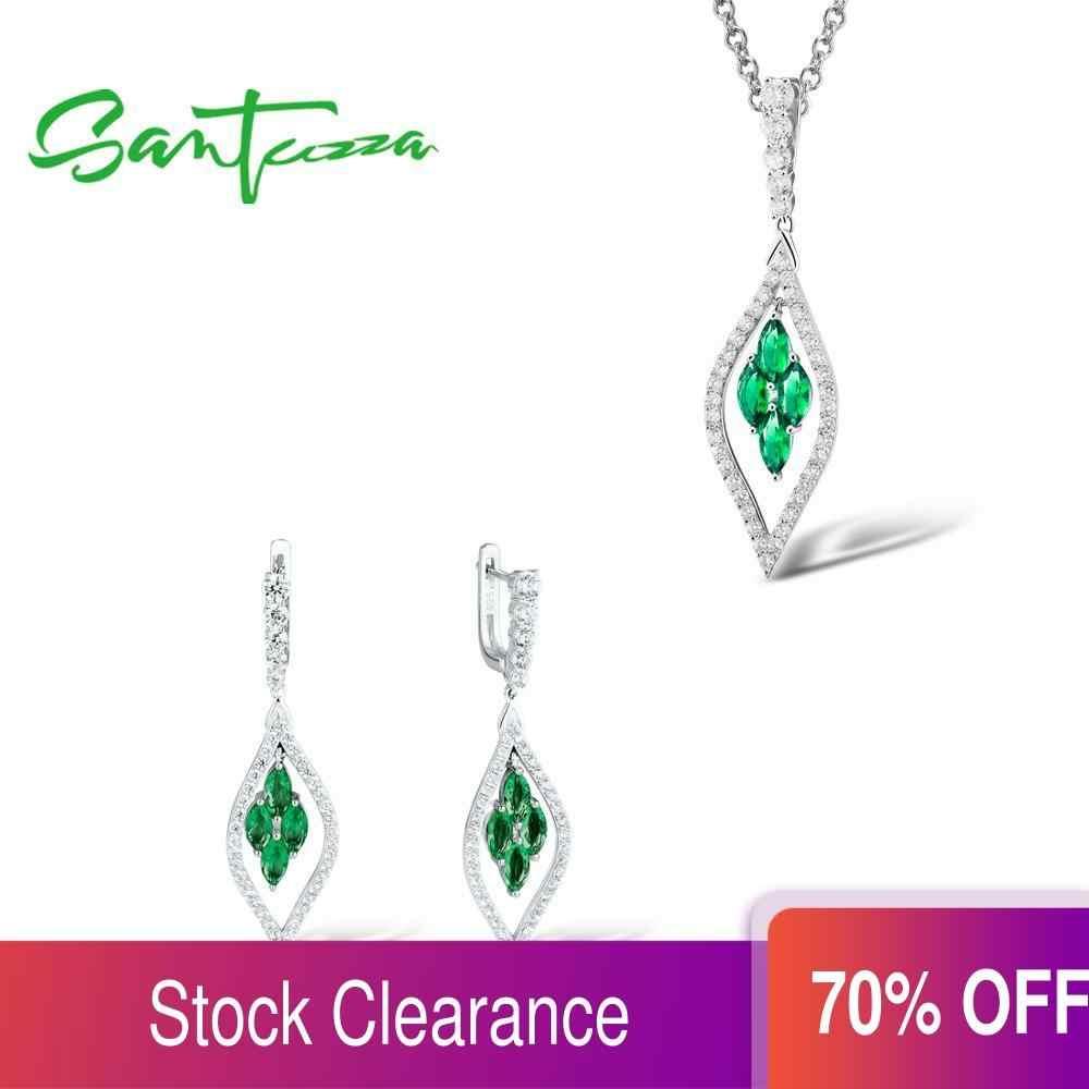 Santuzza Silver Jewelry Set For Women Pure 925 Sterling Silver Sparkling Green Purple Blue Pendant Earrings Trendy Fine Jewelry Jewelry Sets Aliexpress